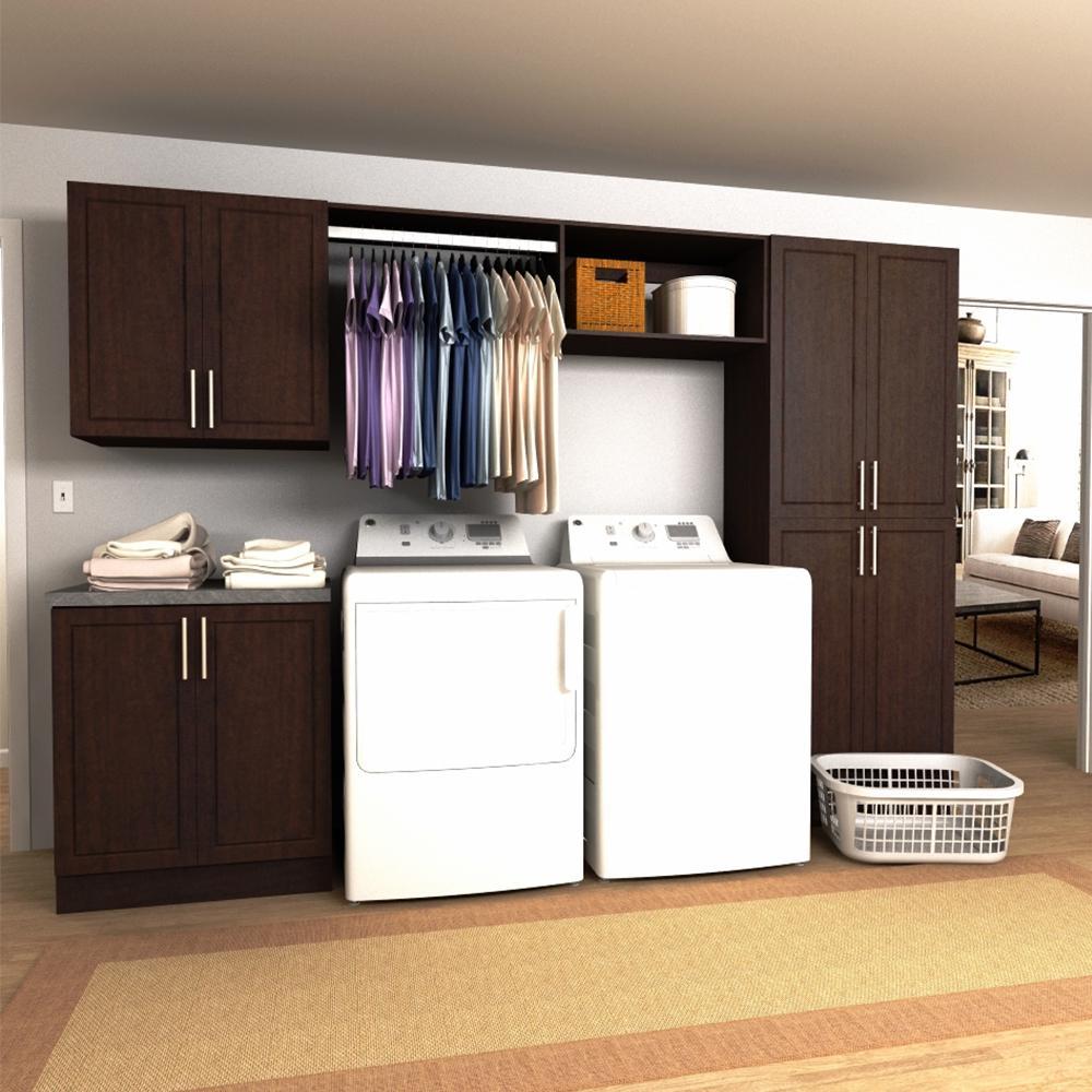 modifi madison 120 in. w mocha hanging rod laundry cabinet kit Laundry Room Cabinets with Hanging Rod