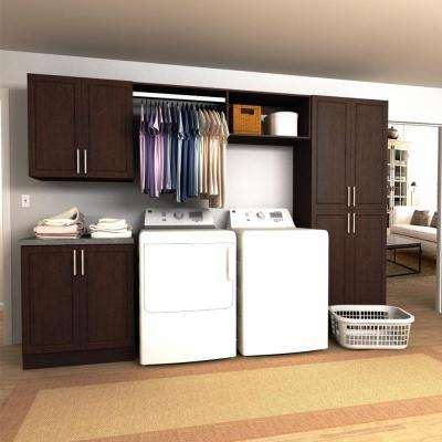 Madison 120 in. W Mocha Hanging Rod Laundry Cabinet Kit