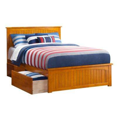 Nantucket Caramel Full Platform Bed with Matching Foot Board and 2 Urban Bed Drawers