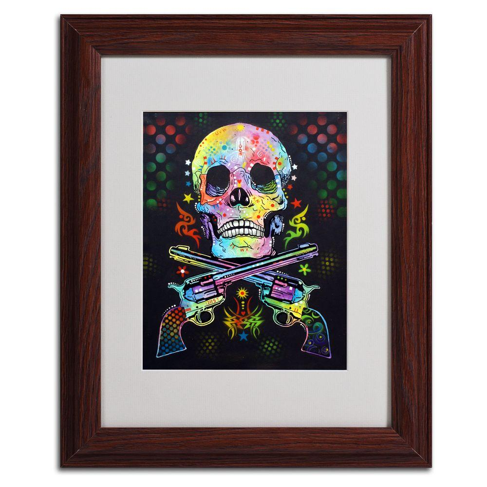 11 in. x 14 in. Skull and Guns Matted Brown Framed Wall Art