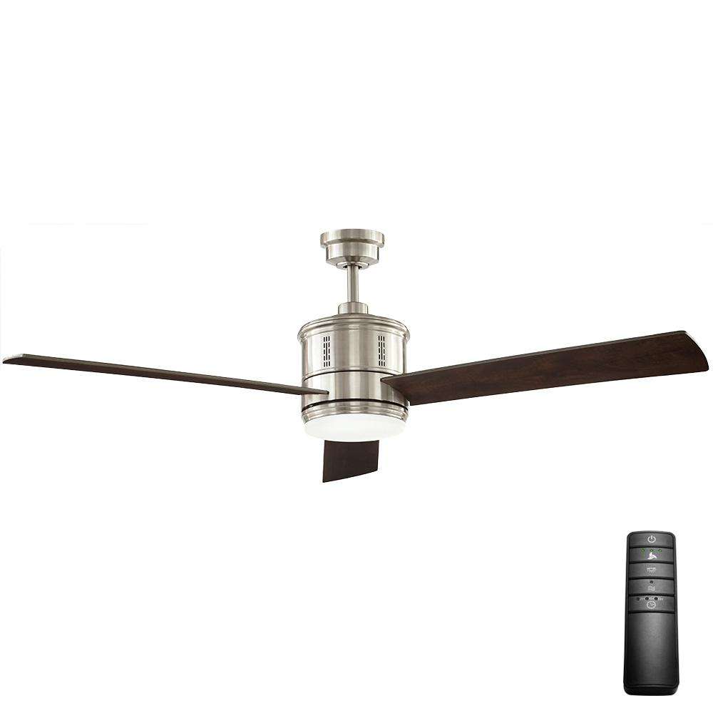 home decorators collection reagan 52 led indoor brushed nickel ceiling fan with light kit and. Black Bedroom Furniture Sets. Home Design Ideas