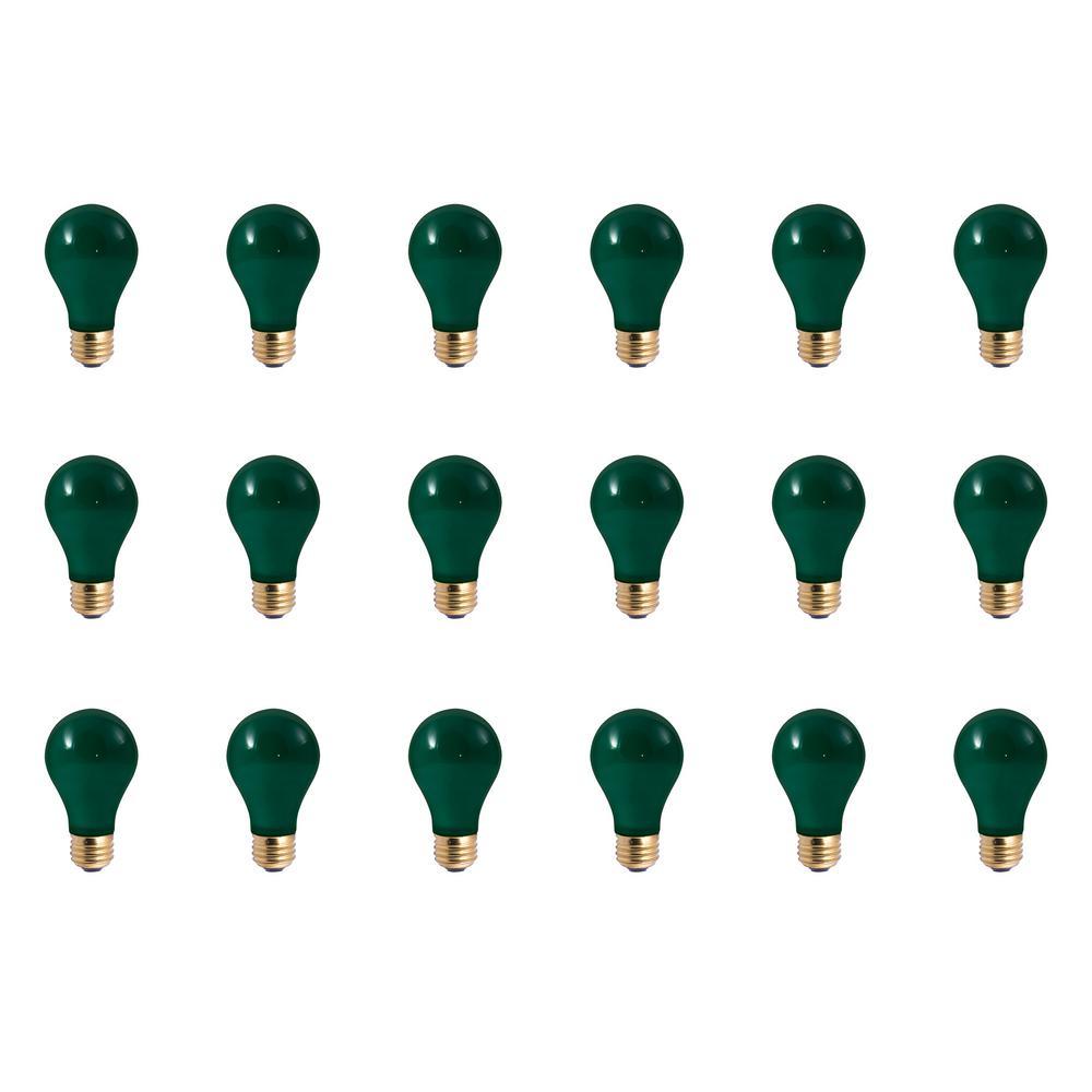 25-Watt A19 Ceramic Green Dimmable Incandescent Light Bulb (18-Pack)