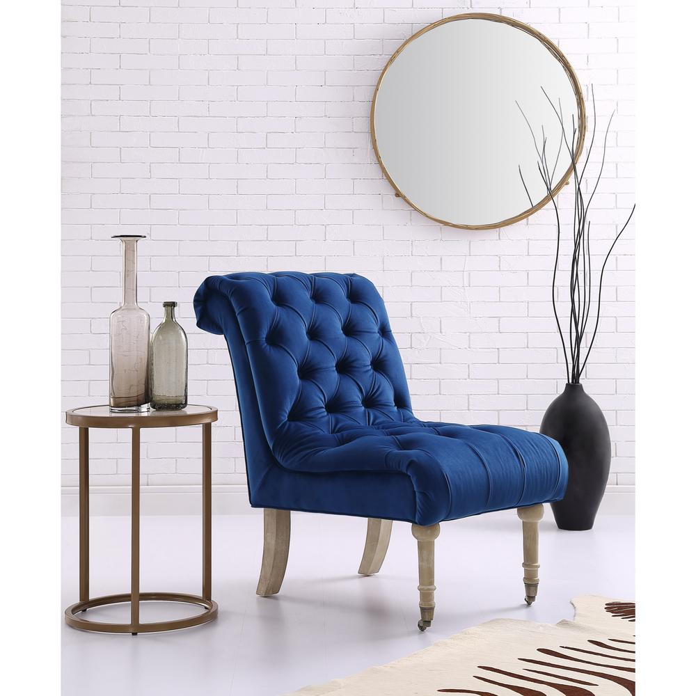 Inspired Home Dolly Navy Velvet Armless Slipper Chair With Button Tufting  And Rolled Back