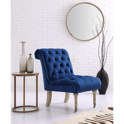 Dolly Navy Velvet Armless Slipper Chair with Button Tufting and Rolled Back