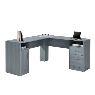 60 in. L-Shaped Gray 2 Drawer Computer Desk with Built-In Storage