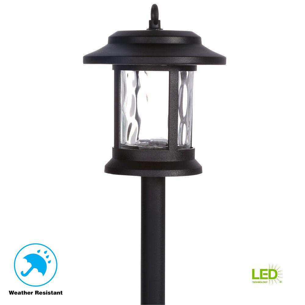 Hampton Bay Solar Black Outdoor Integrated LED Lantern ...
