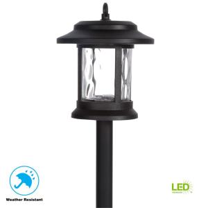 Solar Black Outdoor Integrated LED Lantern Landscape Path Light with Hammered Water Glass Lens (6-Pack)