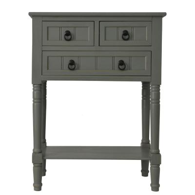 Antique Gray 3-Drawer Console Accent Table