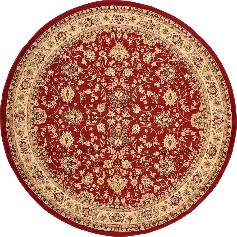 Unique Loom Kashan Burgundy 8 Ft X 8 Ft Round Area Rug