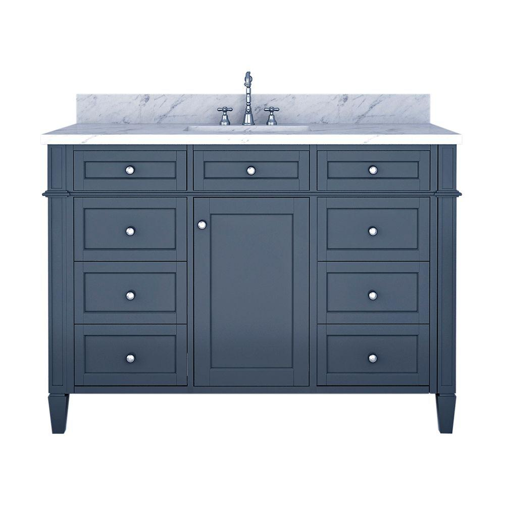 Alya Bath Samantha 48 in. W x 22 in. D Bath Vanity in Gray with Marble Vanity Top in White with White Basin