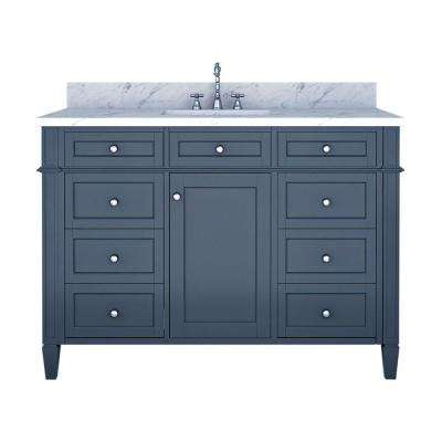 Samantha 48 in. W x 22 in. D Bath Vanity in Gray with Marble Vanity Top in White with White Basin