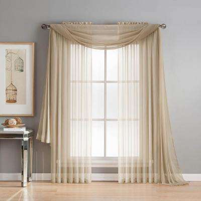 Diamond Sheer Voile 56 In. W X 216 In. L Curtain Scarf In Taupe