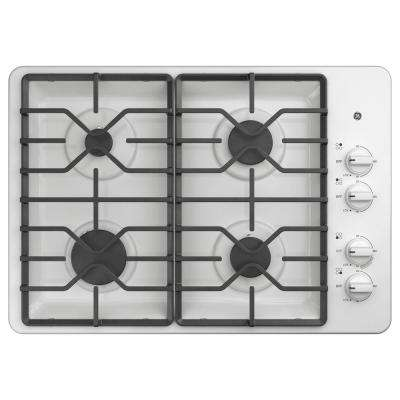 30 in. Gas Cooktop in White with 4 Burners including Power Burners