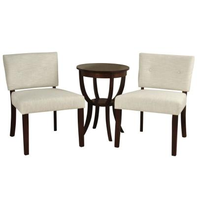 Silk Road Branded 2-Woven Ivory Slipper Chairs with Side Table (3-Piece Set)