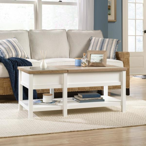 Sauder Cottage Road Soft White Lift Top Coffee Table 421463 The