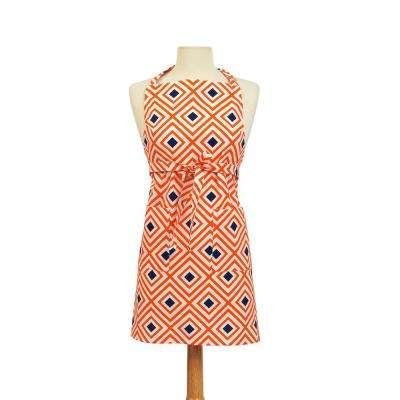Diamond Modern Print Cotton Butcher's Apron, Orange and White