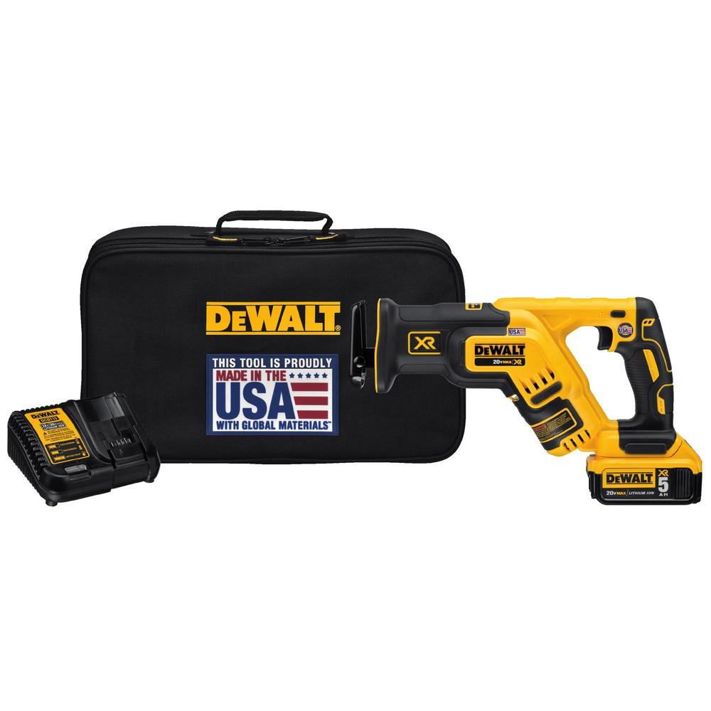 Dewalt 20 Volt Max Xr Lithium Ion Cordless Brushless Compact Reciprocating Saw Kit With Battery 5ah, Charger And Contractor Bag