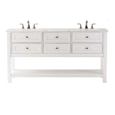 Austell 67 in. W Double Bath Vanity in White with Natural Marble Vanity Top in White