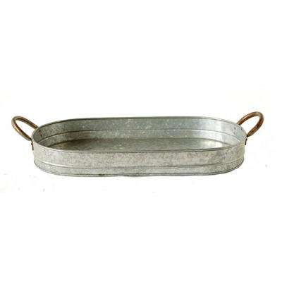 Galvanized Gray Metal Oval Tray with Ear Handles