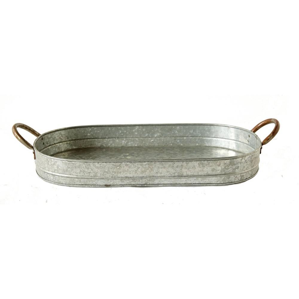 Benzara Galvanized Gray Metal Oval Tray with Ear Handles I457-AMC0011