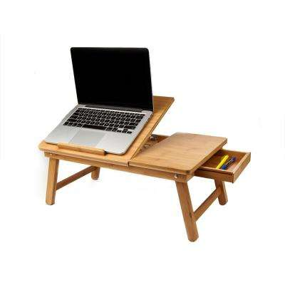 Eco-Friendly Adjustable Bamboo Laptop Bed Tray with Drawer, Brown