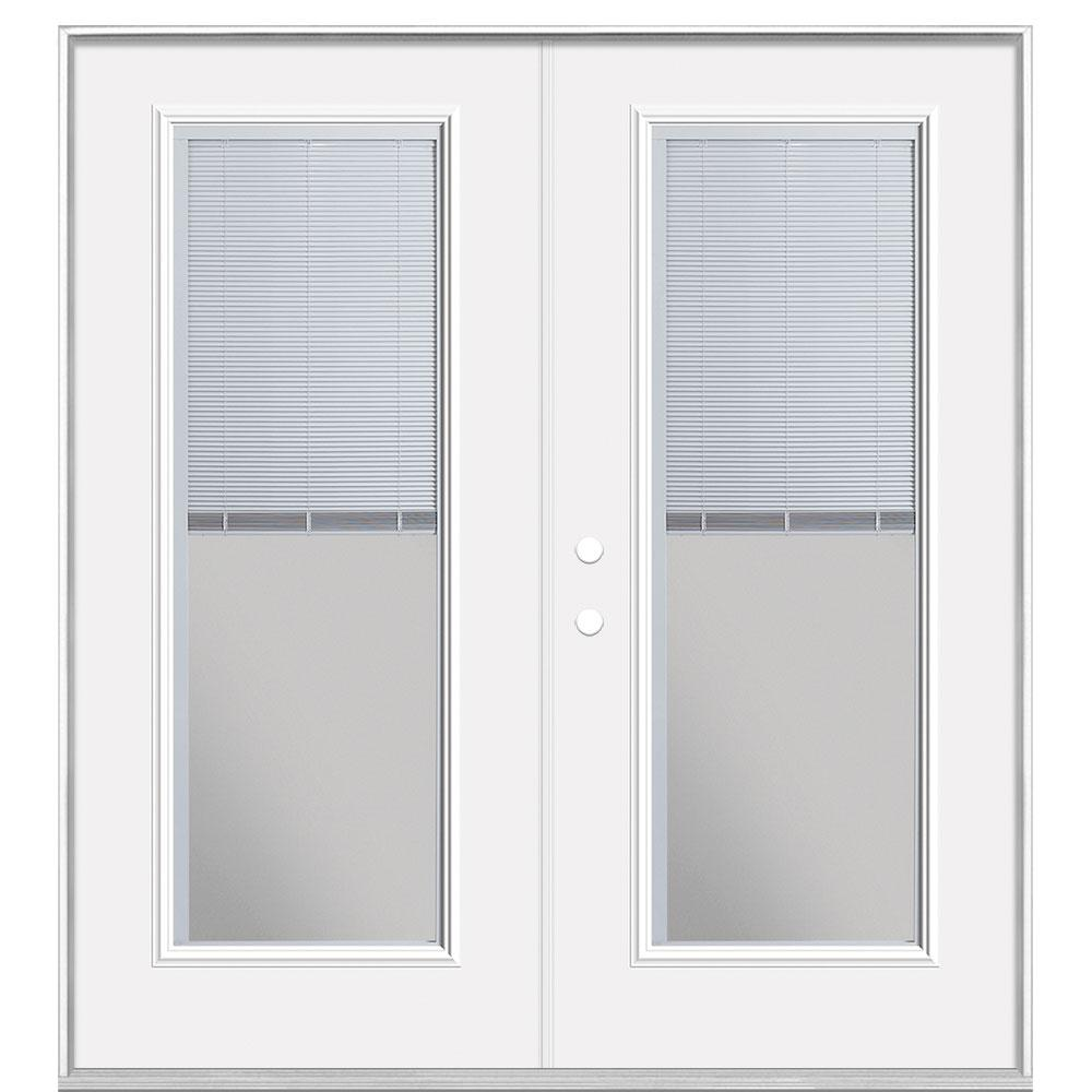 Masonite 72 in. x 80 in. Primed White Steel Prehung Right-Hand Inswing Mini Blind Patio Door in Vinyl Frame without Brickmold