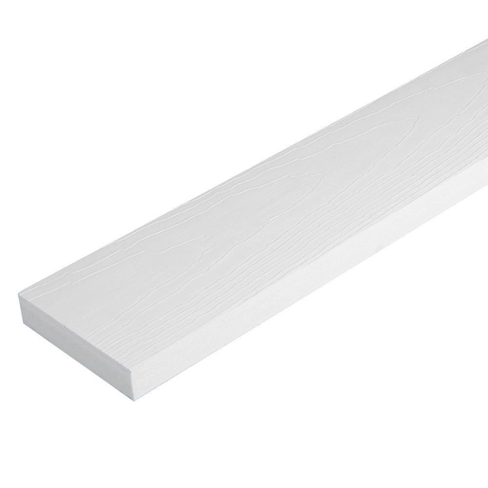 1 in. x 3-1/2 in. x 12 ft. White HP Reversible