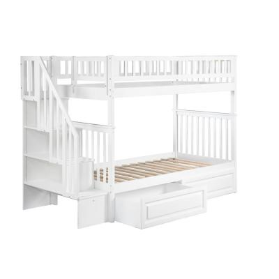 Woodland Staircase Bunk Bed Twin over Twin with 2 Raised Panel Bed Drawers in White