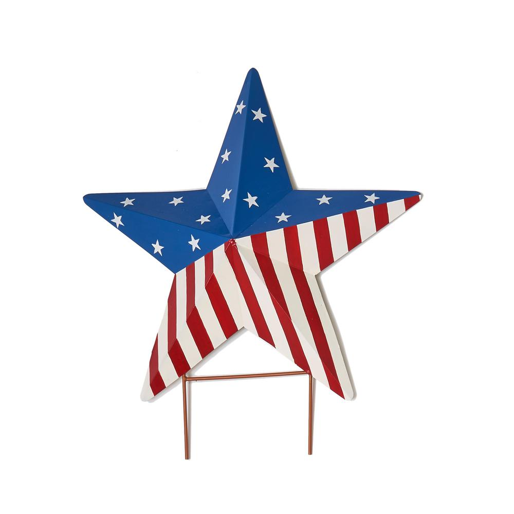 Worth Imports 18 in. Americana Star Stake on 3 in. Stake Decorate your yard or garden with this Cerny Star Garden Stake. Made of sturdy metal, it is painted in the style of an American flag. Colorful star will liven your lawn or garden.