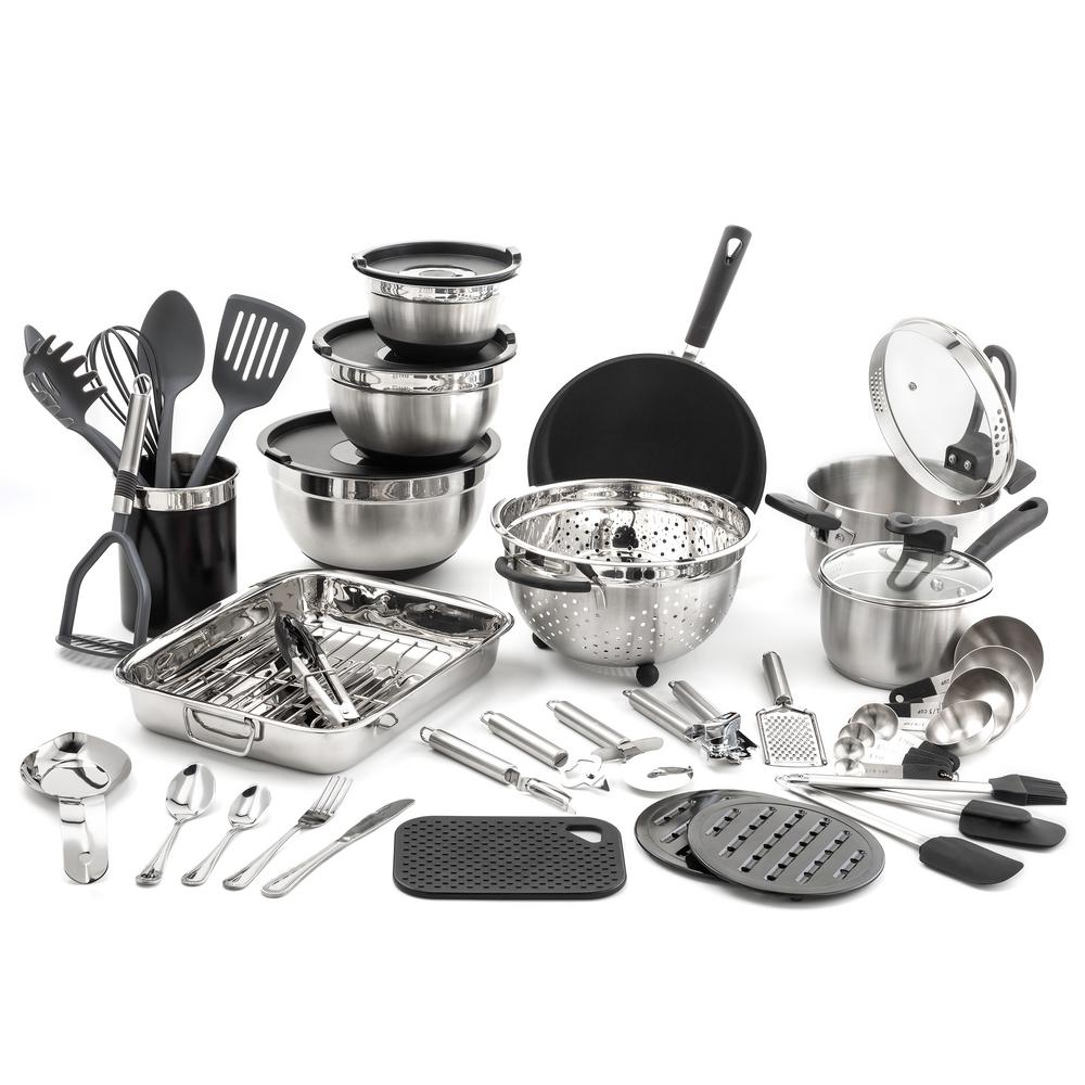Old dutch 58 piece kitchen in a box stainless steel cookware set 1514 the home depot