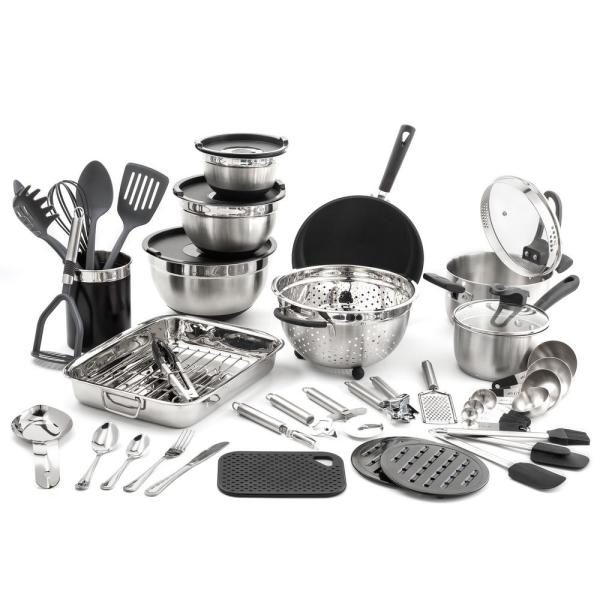 """Old Dutch 58-Piece """"Kitchen in a Box"""" Stainless Steel Cookware Set"""