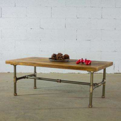 Corvallis Farmhouse Industrial, Brown Rectangle Pipe Coffee Cocktail Snack Table-Metal with Reclaimed/Aged Wood