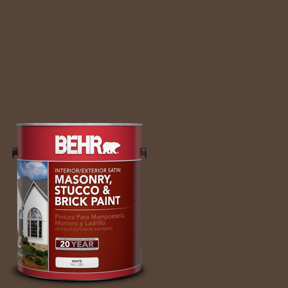 1 gal. #N170-7 Baronial Brown Satin Interior/Exterior Masonry, Stucco and Brick Paint