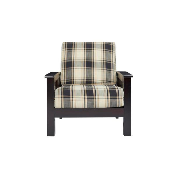 Handy Living Omaha Mission Style Dark Espresso Arm Chair with Exposed