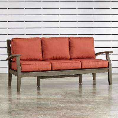 Verdon Gorge Gray Oiled Wood Outdoor Sofa with Red Cushions