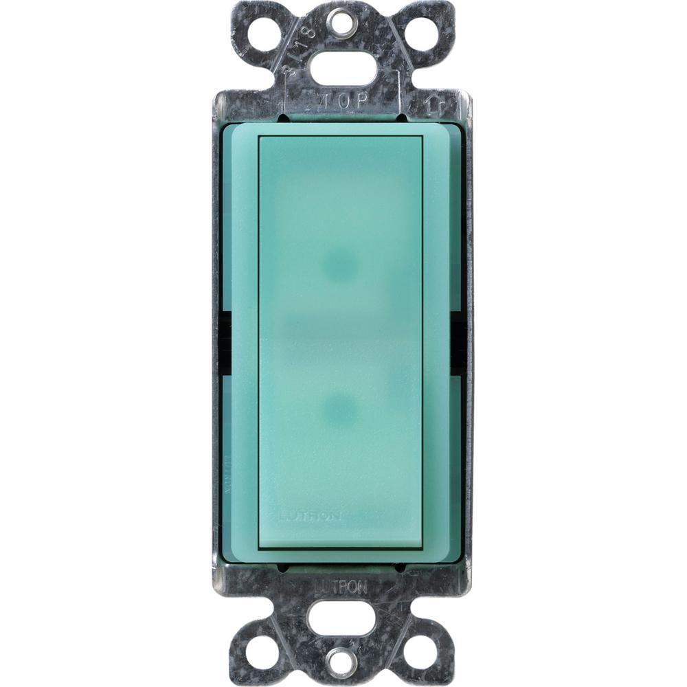 Claro 15 Amp Single-Pole Rocker Switch with Locator Light, Sea Glass