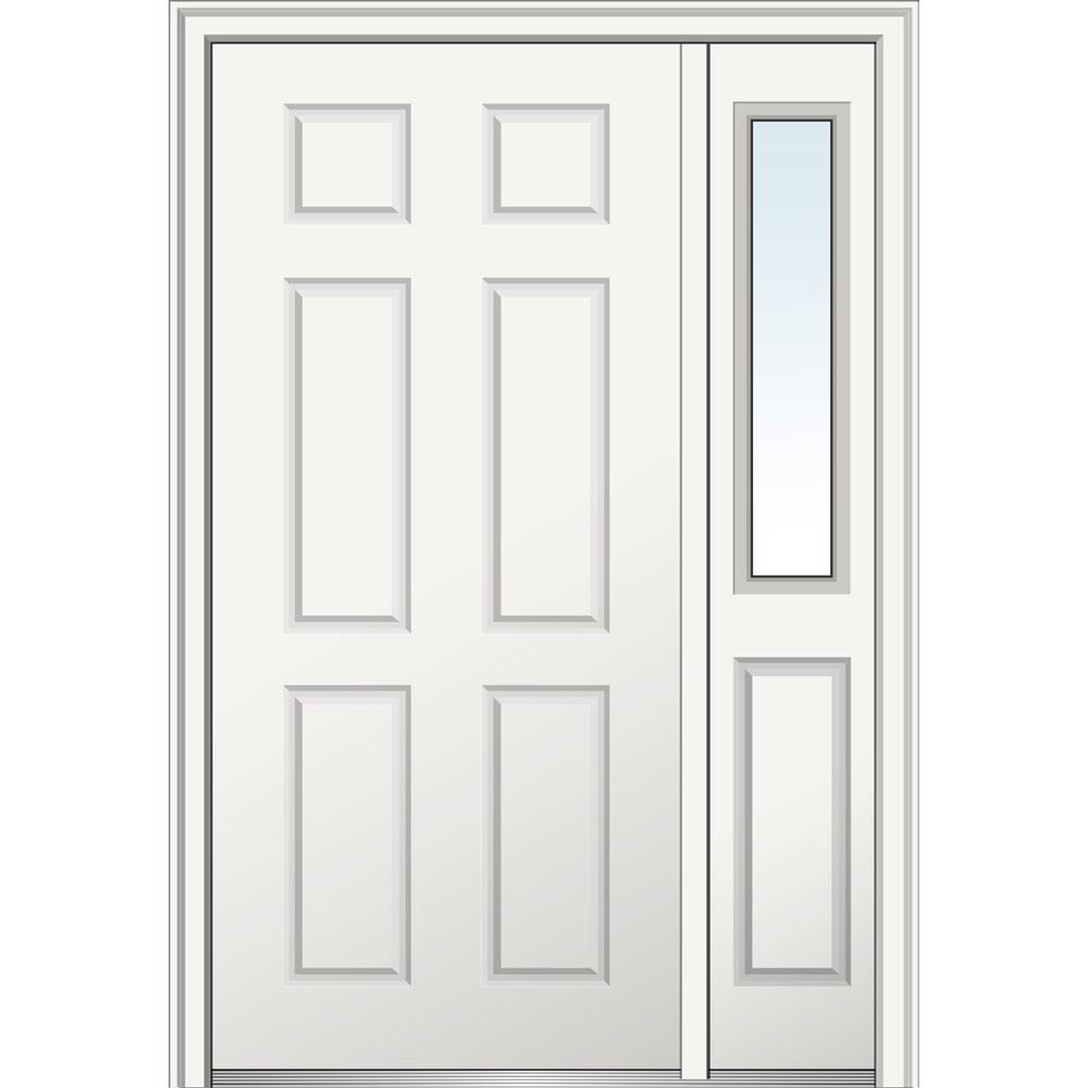 53 in. x 81.75 in. 6-Panel Left-Hand 6-Panel Primed Steel Prehung Front Door with One Sidelite on 6-9/16 in. Frame