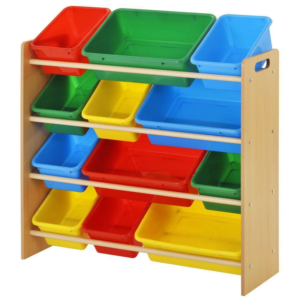 34 in. x 30.7 in. Kids Storage 12-Cube Organizer in Brown