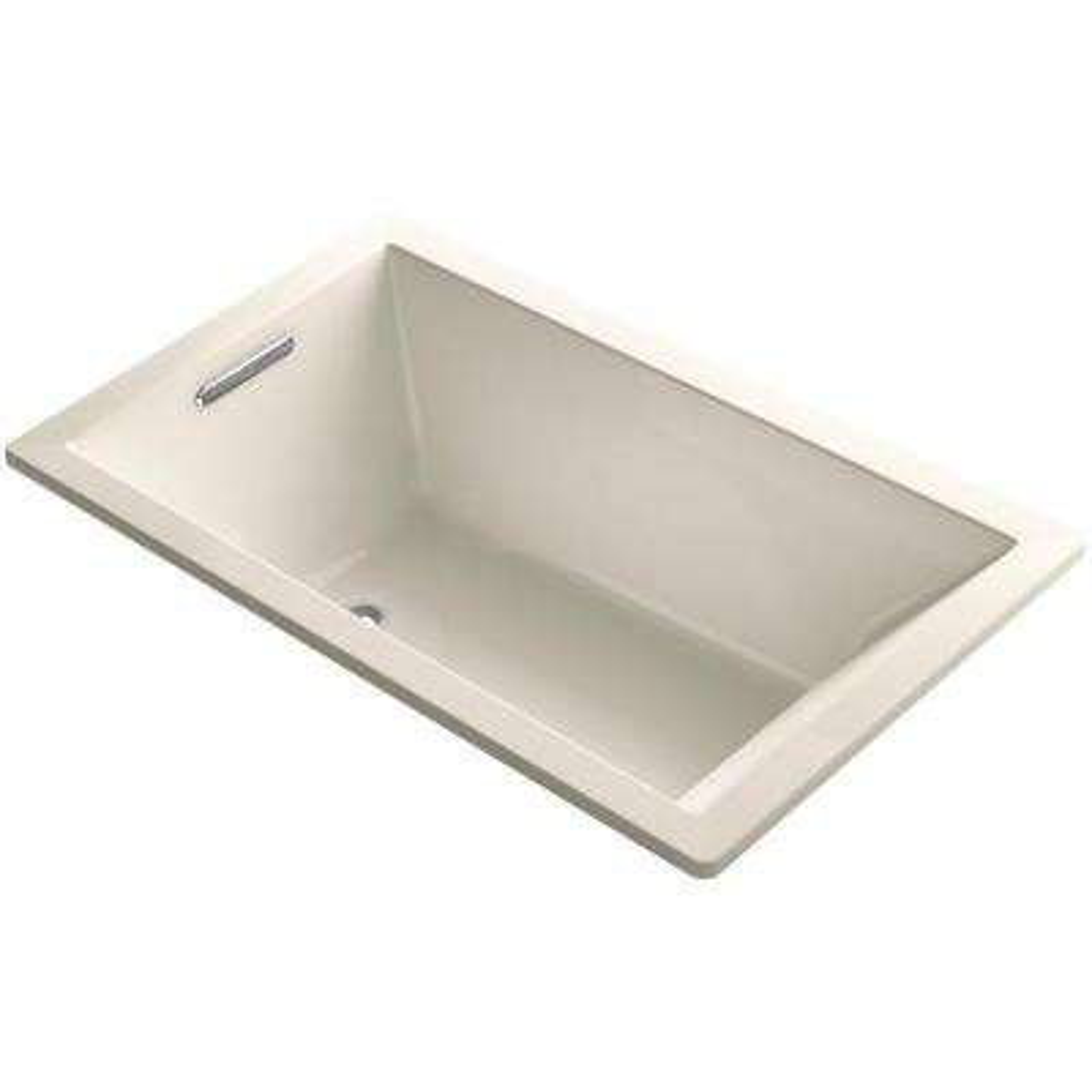 Underscore 5 ft. Reversible Drain Rectangular Alcove Soaking Tub in Almond