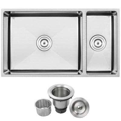 Pacific Undermount Stainless Steel 16-Gauge 31.25 in. Double Basin Kitchen Sink with Basket Strainer
