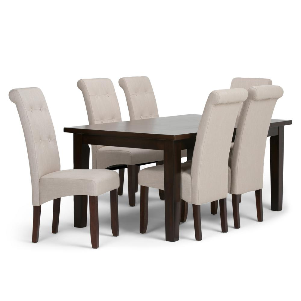 Simpli Home Cosmopolitan 7 Piece Dining Set With 6 Upholstered Chairs In Natural Linen Look Fabric And 66 Wide Table Axcds7 Cos Nl The