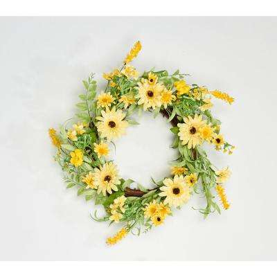 22 in. Mixed Yellow Daisy Wreath on Twig Base