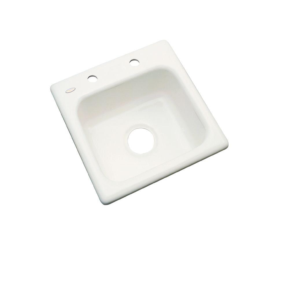 Thermocast Manchester Drop-In Acrylic 16 in. 2-Hole Single Bowl Entertainment Sink in Biscuit