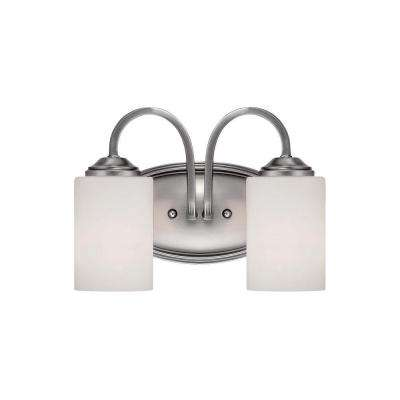 2-Light Brushed Pewter Vanity Light with Etched White Glass
