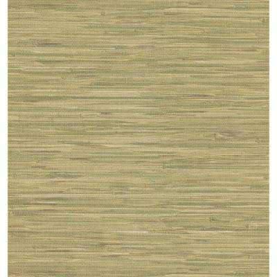 Destinations by the Shore Green Grasscloth Leaf Wallpaper Sample