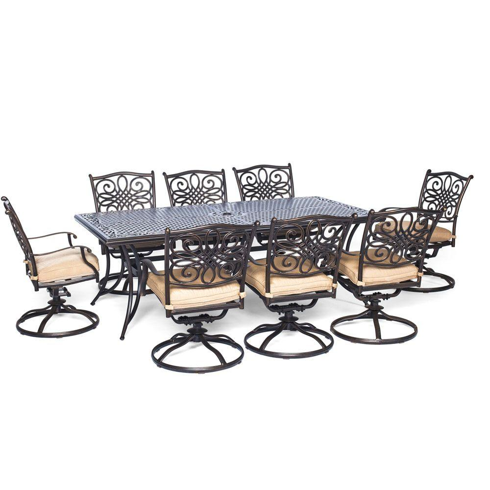 Traditions 9 Piece Aluminum Rectangular Patio Outdoor Dining Set W Eight Swivel Chairs And Natural Oat Cushions