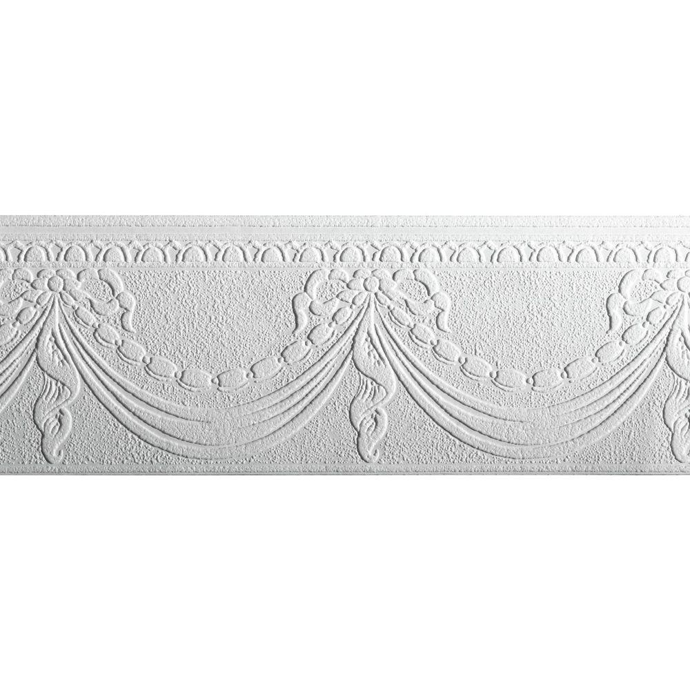 York Wallcoverings 5.2 in. Patent Decor Ribbon Swag Paintable Border