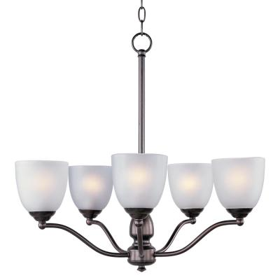 Stefan 5-Light Oil Rubbed Bronze Chandelier with Frosted Shade