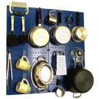 Kitchen Pegboard 32 in. x 32 in. Metal Peg Board Pantry Organizer Kitchen Pot Rack Blue Pegboard and White Peg Hooks