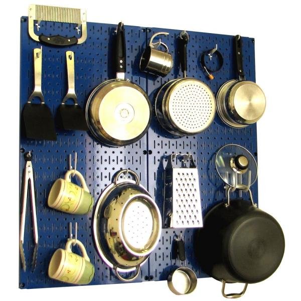 Wall Control Kitchen Pegboard 32 in. x 32 in. Metal Peg Board Pantry Organizer Kitchen Pot Rack Blue Pegboard and White Peg Hooks